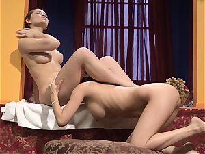 Dani Daniels munches on Vanessa's jiggly cunny