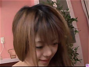 young Noriko Kago enjoys stiff hump with an older man