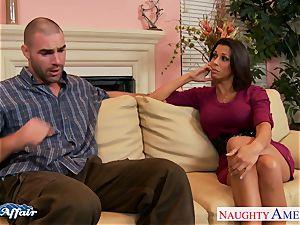 brown-haired Rachel Starr pummel her fortunate neighbor