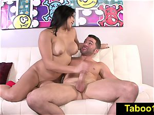 FetishNetwork Mia Li gives hand job to stepbros bone