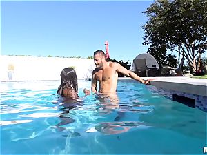 Ana Foxxx pool fuck with the strung up Danny Mountain