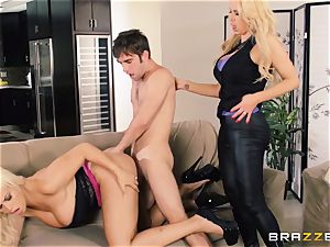 Nikki Benz and Bridgette B get dirty with the security man