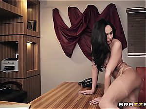 boning sizzling Ariana's bootie on the office desk