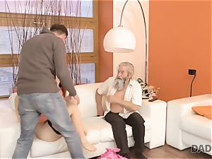 DADDY4K. dude and his aged dad squad up to punish sex-positive gf