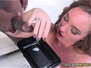 sexy Maddy O'Reilly sates an dark-hued stud