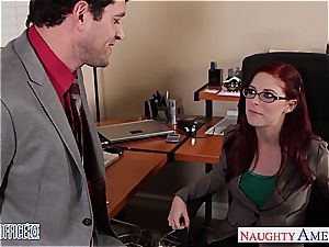 ginger-haired beauty in glasses Penny Pax tear up in the office