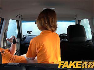 fake Driving school Swotty ginger schoolgirl