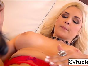 Sarah Vandella uses a ginormous plaything in her cock-squeezing coochie