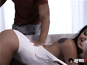 handsome brunette Gina Valentina devastated by ebony cumbot