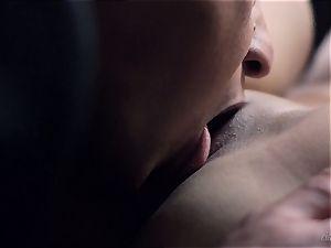dark haired Anina Silk jizzing her mans massive geyser