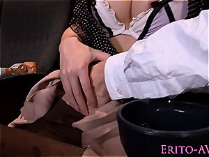 mouth-watering chinese gals blowing sausage at the vids