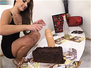 supreme bombshell Amirah Adara and tatted damsel Misha Cross plays with their faux-cocks