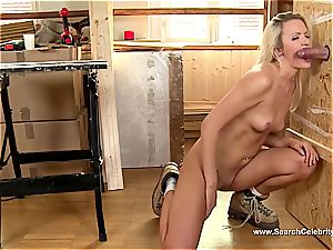 adorable blonde Andrea Francis fellating man meat with her titties out
