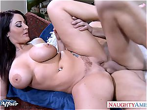 big-titted dark-haired Sophie Dee gets facialized