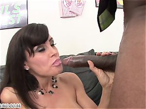 multiracial porn with mature hotty Lisa Ann with huge fun bags
