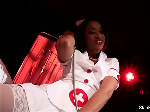 super super hot nurse skin Diamond gives a mind-blowing tease