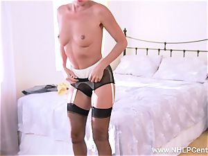French mummy drains unshaved cooter in garter vintage nylons