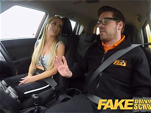fake Driving school huge titties learner completes lesson