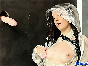 jaw-dropping Melissa dark-hued gets freaky with labia at the gloryhole