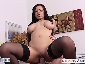 huge-titted dark haired Yurizan Beltran gets torn up in office