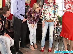 fashionable pissdrenched students gang-fuck fem schoolteacher
