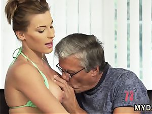 old milky grandma and father displays crony comrade s daughter-in-law anal invasion first time fucky-fucky with her