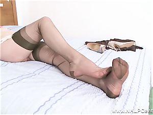 platinum-blonde mummy glides of underpants heels plows fucktoy in nylons