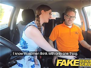 fake Driving college Nerdy sandy-haired nubile student