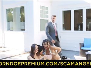 SCAM ANGELS - scorching Melissa Moore romped in ultra-kinky four way