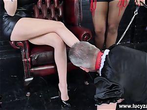dominatrix Lucy Zara Lilly Roma lash abase sissy maid