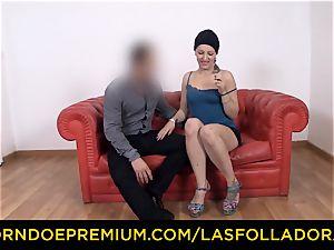 LAS FOLLADORAS Spanish pornstar gets spunked on backside