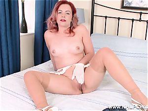 Retro honey unwraps off her white panties for poon play
