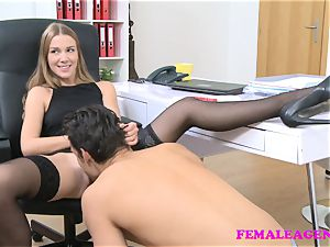 FemaleAgent american fellow cums on splendid blondie face