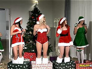 two dudes get the greatest Christmas surprise with redheaded Amarna Miller and her 2 steaming friends Tricia teenager and Blanche Bradburry