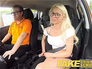 faux Driving school sexy big-chested ash-blonde stunner creampied