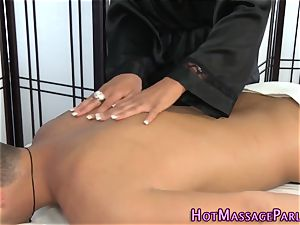 busty masseur drains pink cigar