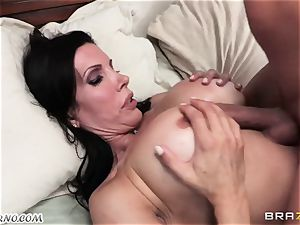 sonny watches as his daddy boinks his mature domme with huge milk cans